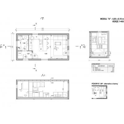 Maison modulaire 1 chambre - vue en plan